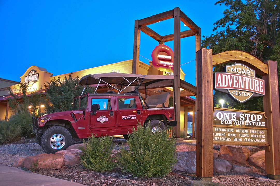 Moab Adventure Center Corner Sign