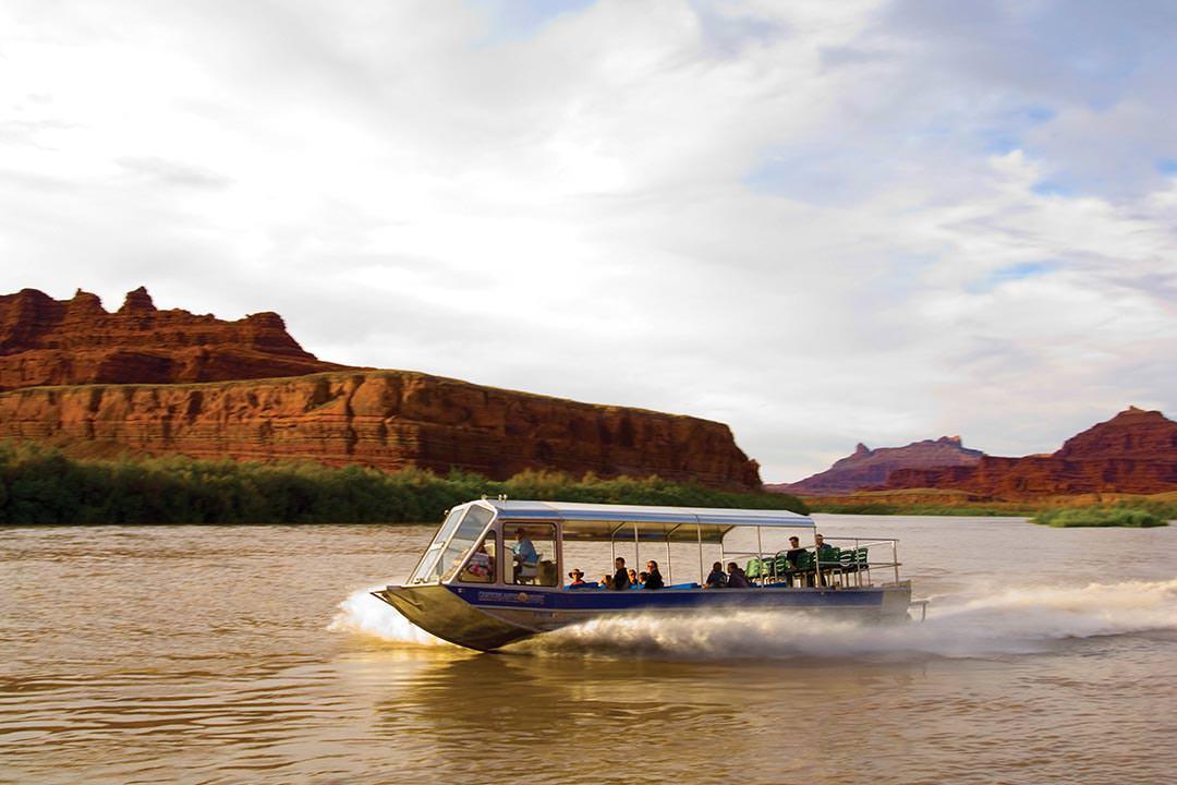 Speeding Jet boat