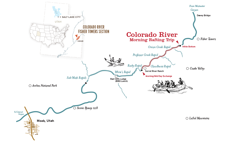 Moab rafting morning map