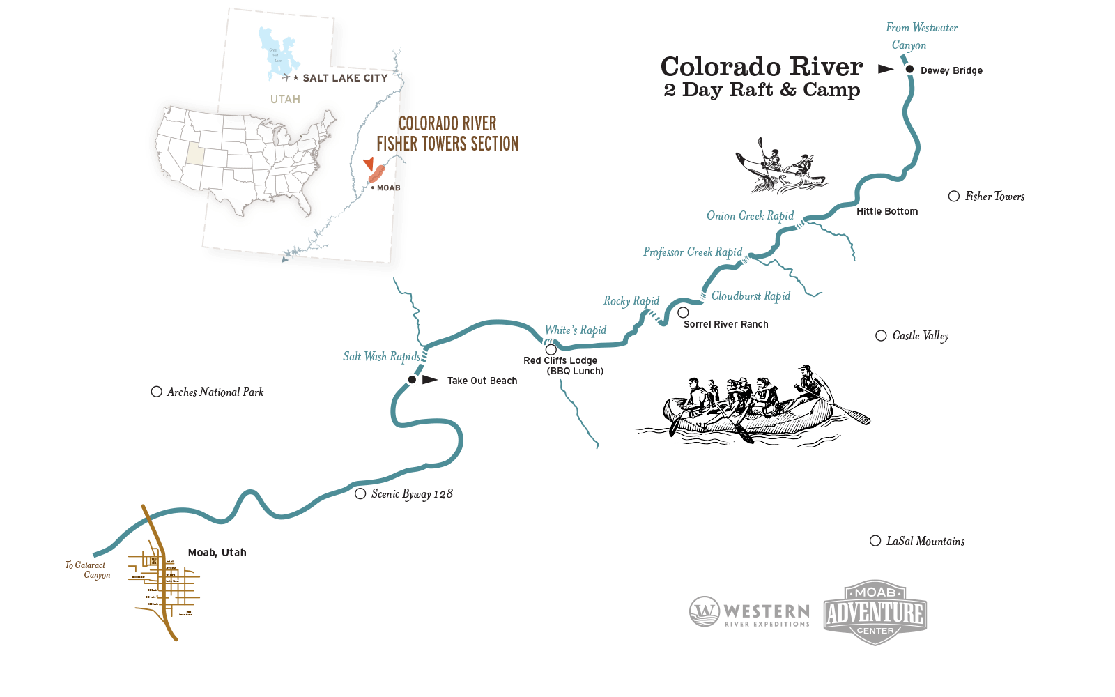 colorado river raft and camp map