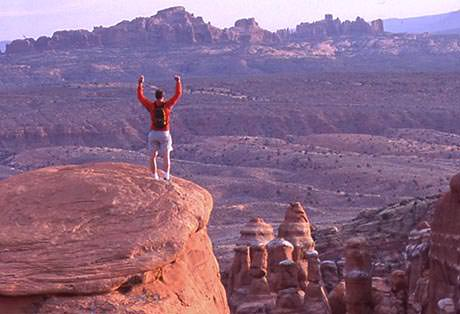 Moab Arches National Park Hiker Celebrate
